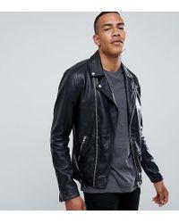 Barneys Originals - Tall Real Leather Zipped Biker - Lyst