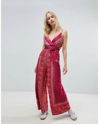 Free People - Cabbage Rose Wrap Front Printed Jumpsuit - Lyst