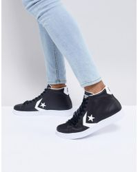 Converse - Pro Leather Mid Trainers In Black 157717c - Lyst