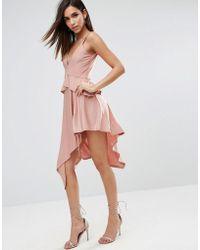 67ba28fe287b ASOS Asos Scuba Deep Plunge Prom Midi Dress in Pink - Lyst