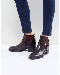 Carvela Kurt Geiger - Saddle Leather Buckle Flat Ankle Boots - Lyst