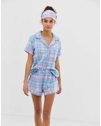 c015a25c9f42b Chelsea Peers Flying Pigs Long Pyjama Set in Green - Lyst