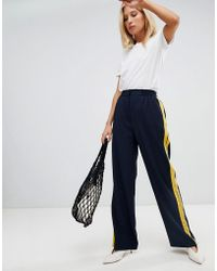 Warehouse - Wide Leg Trousers With Side Stripe In Navy - Lyst
