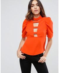 ASOS - Ladder Plunge Front Blouse With 80s Sleeve - Lyst