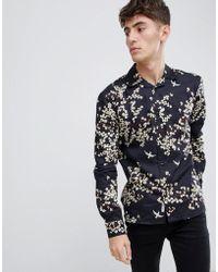 Bellfield - Revere Collar Shirt With Blossom Print - Lyst