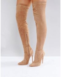 Public Desire - Sonar Nude Over The Knee Boots - Lyst