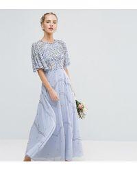 ASOS - Wedding Embellished Floral Flutter Sleeve Maxi Dress - Lyst