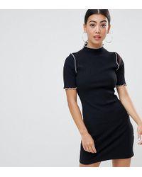 ASOS - Asos Design Petite Chunky Rib Bodycon Dress With Baby Overlock - Lyst