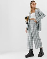 Reclaimed (vintage) - Inspired Cropped Trousers In Check Print With Turn Up - Lyst