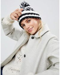 French Connection - Stripe Knit Beanie Hat With Bobble - Lyst