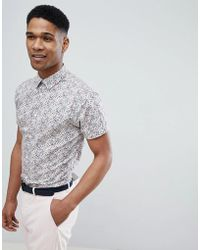 SELECTED - Short Sleeve Shirt With All Over Ditsy Print - Lyst