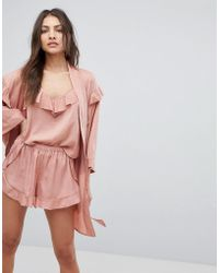 Y.A.S - Ruffle Robe With Gold Spot Print - Lyst