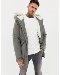 Pull&Bear - Fleece Lined Parka In Khaki - Lyst