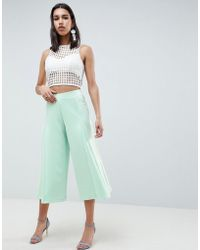 ASOS - Design Cropped Wide Leg Pants With Flowing Hem - Lyst