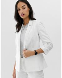 aff7ab3def ASOS - Linen Blazer With Ruched Sleeve - Lyst