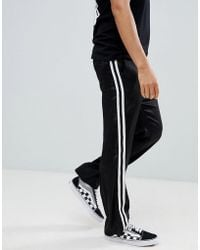 ASOS - Straight Pants In Black With White Side Tape - Lyst