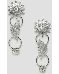 ASOS - Earrings With Linked Jewel Brooch Design In Silver - Lyst