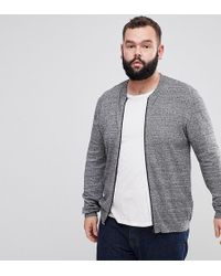 ASOS | Plus Knitted Cotton Bomber In Gray Twist | Lyst