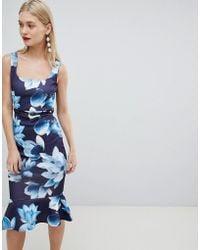 dcc6d1b25816 Lipsy Lace Applique Bodycon Dress in Blue - Lyst