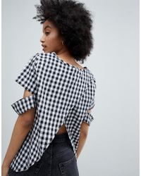 Oeuvre - Gingham Top With Open Back Detail - Lyst