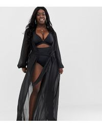 242c0441d9 ASOS - Asos Design Curve Recycled Long Sleeve Wrap Tie Chiffon Maxi Beach  Kimono In Black