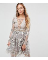 True Decadence - All Over Embroidered Mini Skater Dress With Lace Up Plunge Front - Lyst