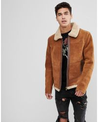 Stradivarius - Suede Biker Jacket In Tan - Lyst