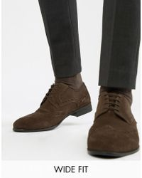 KG by Kurt Geiger - Kg By Kurt Geiger Wide Fit Brogues In Brown Suede - Lyst