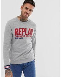 Replay - Logo Text Crew Neck Sweat In Grey - Lyst