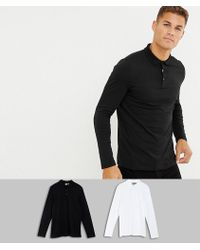 ASOS - Muscle Fit Long Sleeve Jersey Polo 2 Pack Save - Lyst