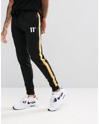 11 Degrees - Skinny Track Joggers In Black With Yellow Stripe - Lyst