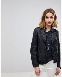 Muubaa - Kendyll Weathered Upturned Collar Leather Biker Jacket - Lyst