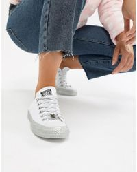 Converse - X Miley Cyrus Chuck Taylor All Star Low Trainers White And Silver Glitter - Lyst