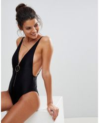 River Island - Ribbed Zip Plunge Swimsuit - Lyst
