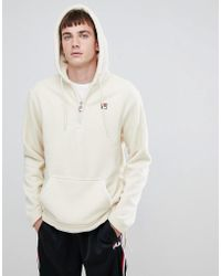 Fila - White Line Teddy Fleece Hoodie With Small Logo In White - Lyst