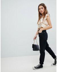 Boohoo - Turn Up Hem Mom Jeans - Lyst