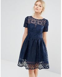 Chi Chi London - Premium Lace Dress Cutwork Detail And Cap Sleeve - Lyst