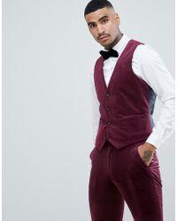 ASOS - Super Skinny Suit Waistcoat In Burgundy Velvet - Lyst