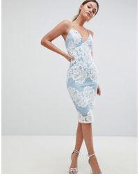 AX Paris - Contrast Blue Lace Bodycon Dress With Plunge Front - Lyst