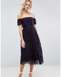 ASOS - Off The Shoulder Lace Prom Midi Dress - Lyst