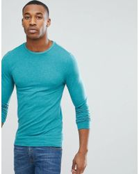 ASOS - Muscle Fit Long Sleeve T-shirt In Blue - Lyst