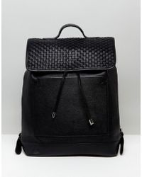 ASOS - Leather Backpack With Woven Front Panel Design - Lyst