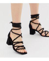 13ca073c9 River Island Black Chunky High Leg Gladiator Sandals in Black - Lyst