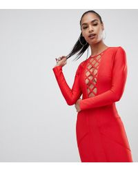5580f7e5c821 PrettyLittleThing - Lattice Detail Bandage Bodycon Mini Dress In Red - Lyst