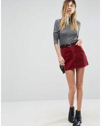 ASOS - Cord Pelmet Skirt In Berry - Lyst