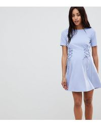 afc8fb8d92 Lyst - Only Denim Skater Dress With Tie Up Front in Blue