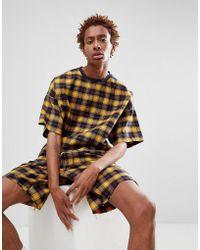 ASOS - T-shirt oversize a quadri gialla - Lyst