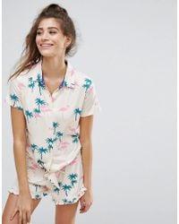 Chelsea Peers - Palm Tree Tie Front Pajama Set - Lyst
