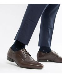 Dune - Wide Fit Lace Up Derby Shoes In Brown High Shine - Lyst
