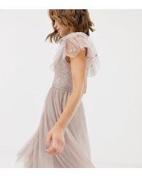 Needle & Thread - Vestido skater de tul en rosa con bordado en el corpio de - Lyst